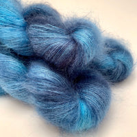 "Hand Dyed Yarn ""Blew By You"" Blue Denim Cobalt Indigo Grey Navy SuperKid Mohair Silk Laceweight 465yds 50g"