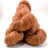 "Hand Dyed Yarn ""Orange Gold Copper Peach Rust Pumpkin Caramel Speckled BFL Bluefaced Leicester Fingering SW 438yds 100g"