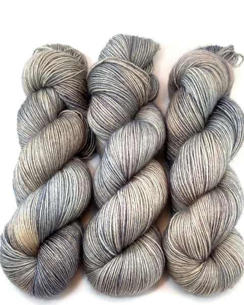 "Hand Dyed Yarn ""Back Deck"" Grey Brown Gray Greige Tan Taupe Smoky BFL Bluefaced Leicester Fingering SW 438yds 100g"