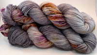 "Hand Dyed Yarn ""Up to No Good"" Grey Purple Pink Gold Yellow Orange Red Silver Brown Black Bluefaced Leicester BFL Silk Fingering Sock Superwash 425yds 115g"