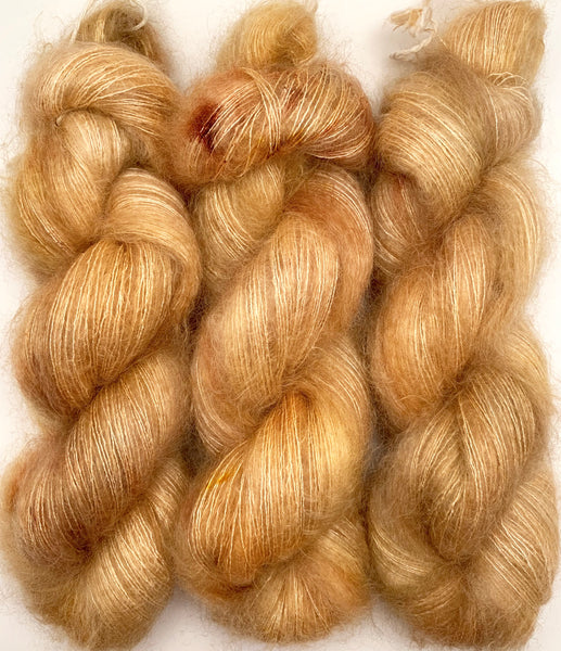 "Hand Dyed Yarn ""Wheat Kings"" Yellow Beige Honey Tan Gold Blonde Brown Speckled SuperKid Mohair Silk 465yds 50g"