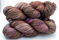 "Hand Dyed Yarn ""Plush"" Plum Purple Brown Grey Gold Caramel Mustard Merino Fingering Superwash 420yds 115g"
