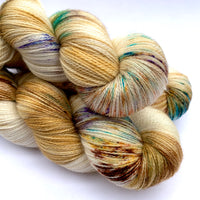 "Hand Dyed Yarn ""Funny Honey"" Yellow Gold Blonde Turquoise Brown Rust Copper Speckled Merino Silk Lace Yarn Superwash 875yds 100g"