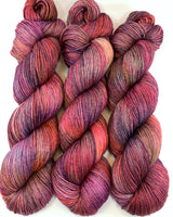 "Hand Dyed Yarn ""Masquerade"" Brick Blue Grey Purple Red Rust Brown Orange Pink Copper Merino Silk Cashmere Fingering 438yds 100g"