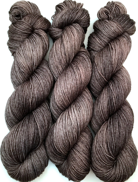 "Hand Dyed Yarn ""Charred"" Grey Brown Gray Charcoal Smoky Merino Fingering Superwash 438yds 100g"