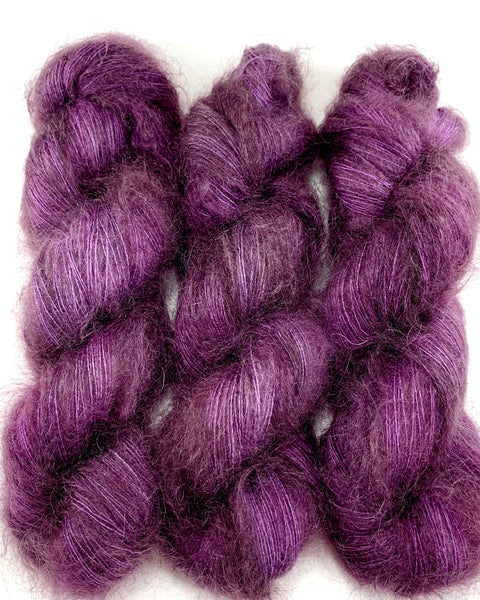 "Hand Dyed Yarn ""Oh! Aubergine"" Purple Plum Eggplant Brown Grey SuperKid Mohair Silk Laceweight 465yds 50g"