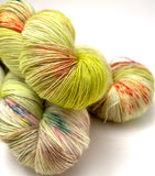 "Hand Dyed Yarn ""Freshly Squeezed"" Green Yellow Lime Fuchsia Pink Orange Speckled Merino Lace Singles 825yds 115g"