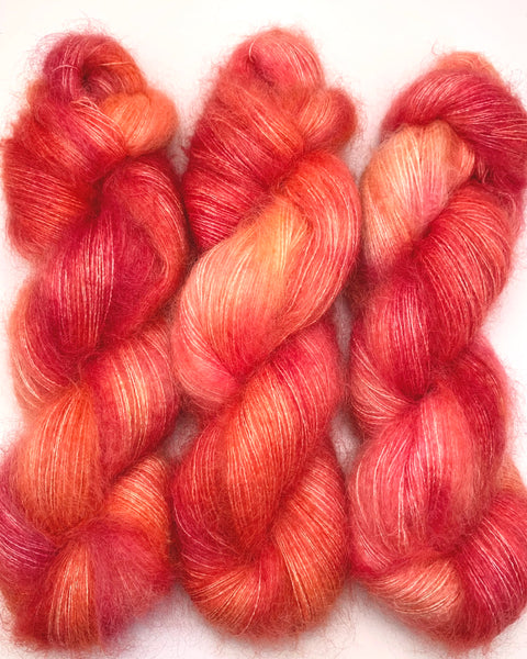 "Hand Dyed Yarn ""Blood Orange Glow"" Yellow Orange Coral Pink SuperKid Mohair Silk Laceweight 465yds 50g"