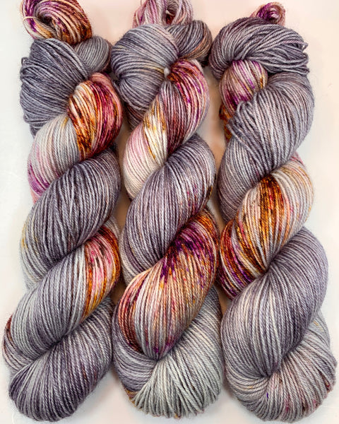 "Hand Dyed Yarn ""Up to No Good"" Grey Purple Pink Gold Yellow Orange Red Silver Brown Black Merino Nylon Fingering Sock Superwash 463yds 100g"