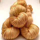 "Hand Dyed Yarn ""Wheat Kings"" Yellow Gold Tan Blond Caramel Brown Speckled Merino Silk DK Weight Superwash 231yds 100g"