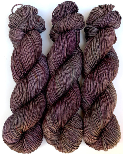 "Hand Dyed Yarn ""Grace, Too"" Purple Plum Green Red Brown Pink Maroon Wine Khaki Speckled Merino Nylon DK SW 248yds 100g"
