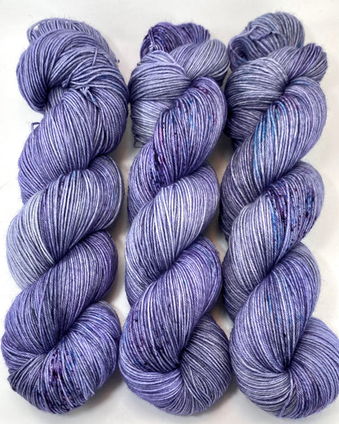 "Hand Dyed Yarn ""Violet Blackregard (Redux)"" Violet Grey Blue Turquoise Denim Purple Speckled Merino Nylon Fingering SW 463yds 100g"