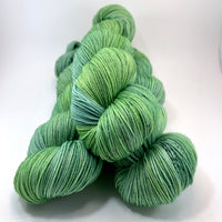 "Hand Dyed Yarn ""Just Escarole With It"" Lime Yellow Green Chartreuse Avocado Grey Speckled Merino Nylon Fingering Superwash 463yds 100g"