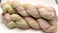 "Hand Dyed Yarn ""Pink Muscat (Pale)"" Pink Blush Green Mint Apricot Rose Cream Red Speckled Merino Nylon Fine Fingering Superwash 463yds 100g"