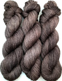 "RESERVED for Barbara** Hand Dyed Yarn ""Charred"" ""Cast Iron"" Grey Brown Gray Charcoal Smoky Black Merino DK Superwash 231yds 100g x 4 hanks each"