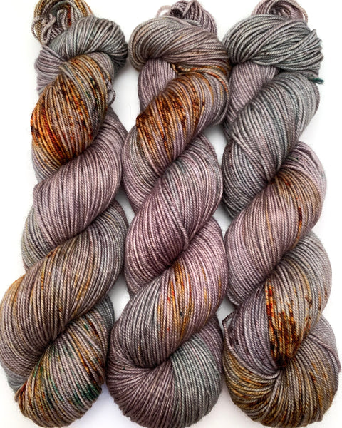 "Hand Dyed Yarn ""Here There Be Dragons"" Brown Green Khaki Grey Gold Caramel Rust Speckled Merino Sport Superwash 328yds 100g"