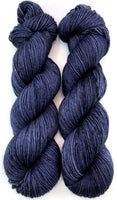 "RESERVED for Virginia** Hand Dyed Yarn ""Dark Venom"" Navy Blue Grey Black Speckled Merino Sport Superwash 328yds 100g x 4 hanks"