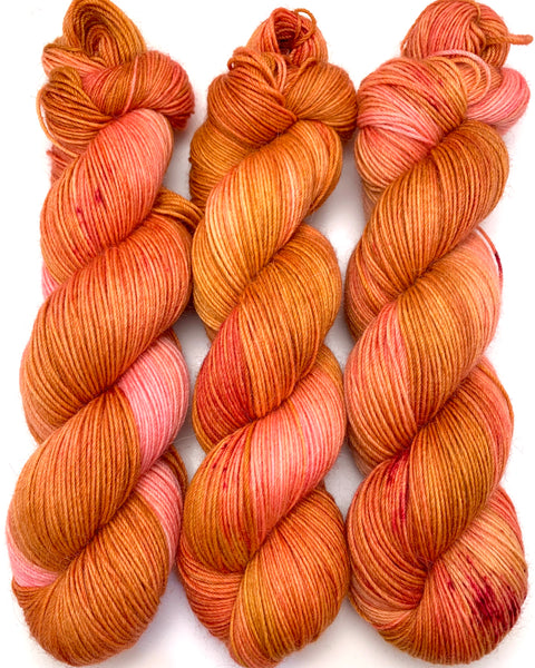 "Hand Dyed Yarn ""Razzle Dazzle"" Gold Pink Orange Yellow Peach Magenta Speckled Merino Alpaca Nylon Fine Fingering Superwash 438yds 100g"