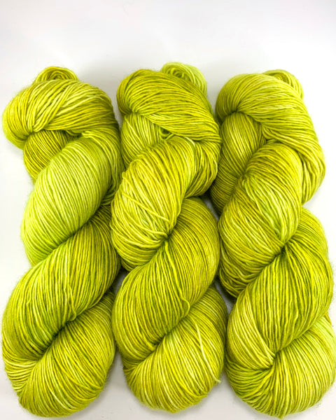 "Hand Dyed Yarn ""Sprung"" Lime Chartreuse Acid Green Yellow Gold Merino Sport SW 328 yds 100"