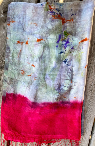 "Hand Dyed Silk Scarf ""Cthulhu's Kinky Boots"" Green Grey Khaki Navy Orange Violet Scarlet Red Mulberry Silk Scarf 24"" x 75"" 61cm x 190cm"