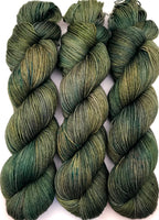 "Hand Dyed Yarn ""Take A Bough"" Green Avocado Spruce Sage Emerald Speckled Merino Fingering Superwash 438yds 100g"