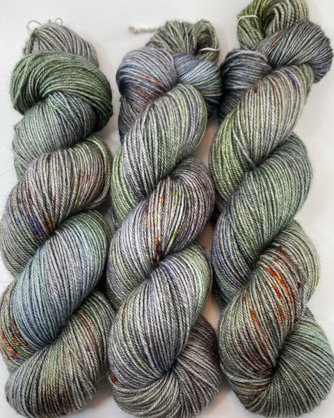 "Hand Dyed Yarn ""Cthulhu's Dogs are Barking"" Brown Violet Orange Green Grey Lime Blue Navy Bluefaced Leicester Silk Fingering 425yds 115g"