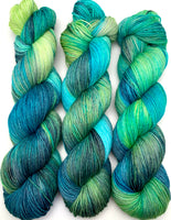 "Hand Dyed Yarn ""Tropical Turmoil"" Lime Grey Green Blue Teal Turquoise Aqua Merino Nylon Fingering SW 463yds 100g"