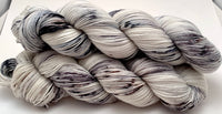 "Hand Dyed Yarn ""Dammit Granite"" Grey Black Silver White Ecru Speckled Merino Nylon Fine Fingering SW 463yds 100g"
