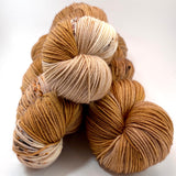 "Hand Dyed Yarn ""Whistlejacket"" Brown Copper Chestnut Caramel Tan Ecru Speckled Merino Fingering SW 438yds 100g"