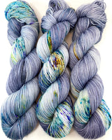 "Hand Dyed Yarn ""BeeBop Blues"" Blue Navy Grey Turquoise Teal Gold Yellow Violet Green Speckled Merino Nylon Fingering Sock Superwash 463yds 100g"