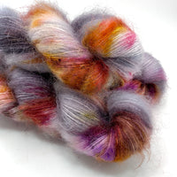 "Hand Dyed Yarn ""Up to No Good"" Grey Silver Purple Brown Gold Red Yellow SuperKid Mohair Silk Laceweight 465yds 50g"