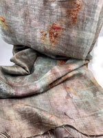 "Hand Dyed Silk Scarf ""Here There Be Dragons"" Brown Green Grey Beige Khaki Gold Spruce Rust Copper Caramel Mulberry Silk Scarf 23"" x 73"" 59cm x 187cm"