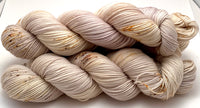 "Hand Dyed Yarn ""Sand in My Sandals"" Silver Grey Gold Ecru Caramel Tan Brown Speckled Merino Fingering Superwash 438yds 100g"