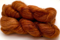 "RESERVED for Trish** Hand Dyed Yarn ""Just Rusted Enough"" Rust Copper Brown Cinnamon Orange Caramel Gold SuperKid Mohair Silk Laceweight 465yds 50g x3"