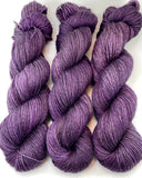 "Hand Dyed Yarn ""Oh! Aubergine"" Purple Plum Brown Grey Black Smoky Speckled Bluefaced Leicester BFL Silk Fingering Sock Superwash 425yds 115g"
