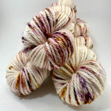 "Hand Dyed Yarn ""Mischievous Grin"" Purple Brown Ecru Gold Pink Red Orange Speckled Merino Bulky Superwash 106yds 100g"