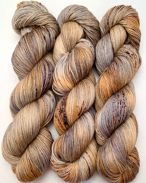 "Hand Dyed Yarn ""Wild Horses"" Tan Grey Brown Caramel Rust Blue Speckled Merino Fingering Superwash 438yds 100g"