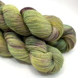 "Hand Dyed Yarn ""Evenfall"" Green Spruce Olive Purple Sage Violet Grey Brown Speckled Alpaca Silk Lace 875yds 100g"