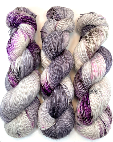 "Hand Dyed Yarn ""Cobwebs and Dust"" Purple Brown Grey Pink Bluefaced Leicester Lace Superwash 875yds 100g"