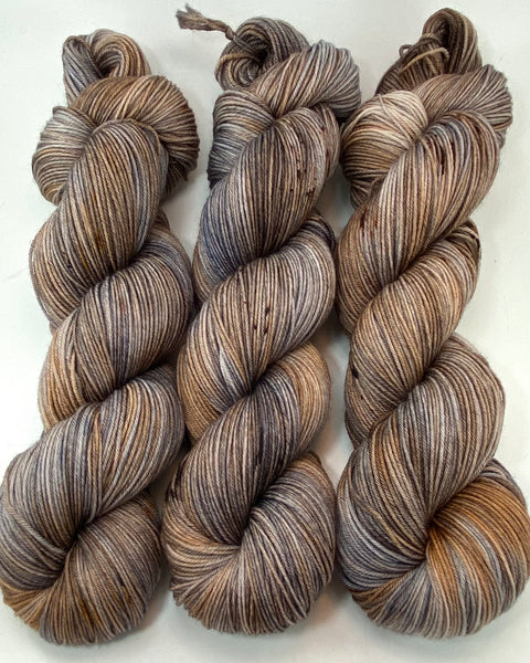 "Hand Dyed Yarn ""Whippoorwill"" Grey Brown Copper Silver Tan Caramel Beige Black Speckled Merino Fingering Superwash 438yds 100g"