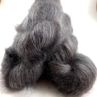 "Hand Dyed Yarn ""Charred"" Grey Charcoal Gray Brown SuperKid Mohair Silk Laceweight 465yds 50g"