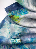 "Hand Dyed Silk Scarf ""BeeBop Blues #2"" Blue Navy Turquoise Green Violet Gold Teal Silver Yellow Mulberry Silk Scarf 22.5"" x 71"" 57cm x 180cm"