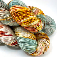 "Hand Dyed Yarn ""Pheasant Plucker"" Green Grey Brown Gold Avocado Copper Scarlet Speckled Merino Fingering Superwash 438yds 100g"