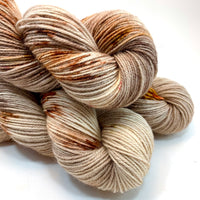 "Hand Dyed Yarn ""Caramel Mochaccino"" Brown Tan Caramel Copper Gold Yellow Red Chestnut Bluefaced Leicester BFL Silk Fingering Sock Superwash 425yds 115g"
