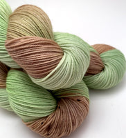 "Hand Dyed Yarn ""Pistachio"" Green Beige Mint Brown Caramel Lime Speckled Merino Nylon Sock Fingering SW 437yds 100g"