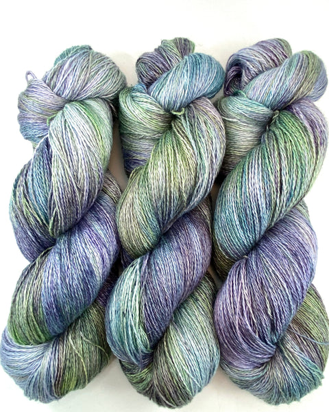 "Hand Dyed Yarn ""Hellebore"" Green Blue Teal Purple Violet Lime Grey Speckled Silk Linen 735yds 115g"