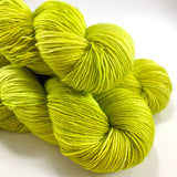 "RESERVED for Virginia** Hand Dyed Yarn ""Sprung"" Lime Chartreuse Acid Green Yellow Gold Merino Sport SW 328 yds 100 x3"