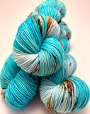 "Hand Dyed Yarn ""Guitars, Cadillacs"" Blue Teal Turquoise Brown Rust Copper Violet Speckled Merino Sport Weight Superwash 328yds 100g"
