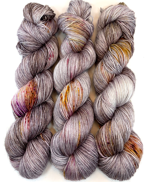 "Hand Dyed Yarn ""Up to No Good"" Grey Silver Gold Brown Pink Purple Speckled Merino Silk Fingering Singles Superwash 438yds 100g"