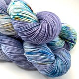 "Hand Dyed Yarn ""BeeBop Blues"" Blue Navy Grey Turquoise Teal Gold Yellow Violet Green Speckled Merino Fingering Superwash 438yds 100g"